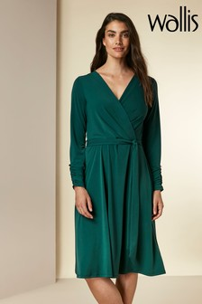 Wallis Green Midi Wrap Fit And Flare Dress