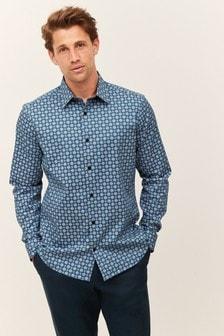 Trim Detail Geometric Shirt