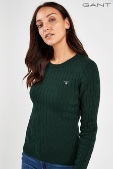 GANT Womens Green Stretch Cotton Cable Crew