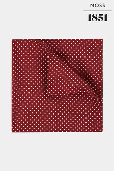Moss 1851 Wine White Pin Dot Pocket Square