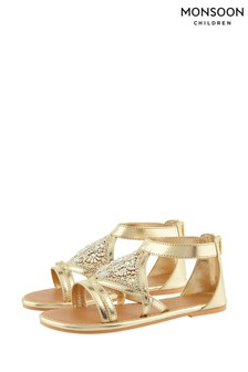 Monsoon Diamond Shape Gold Beaded Sandals