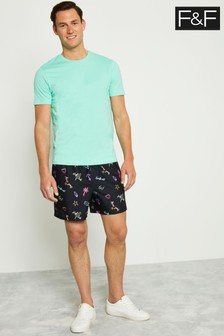F&F Black Hugo Conversational Swim Shorts