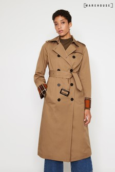 Warehouse Natural Check Lined Trench Coat
