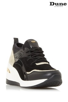 Dune London Eila Black Wedge Heel Trainers