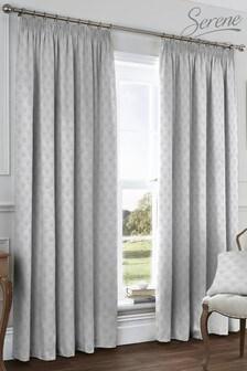 Serene Silver Nouveau Fan Pencil Pleat Curtains
