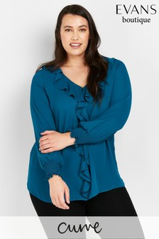 Evans Curve Teal Frill Front Sheer Cuff Blouse