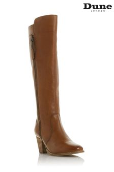 Dune London Tiana Tan Western Block Heel Knee High Boots