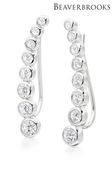Beaverbrooks Silver Cubic Zirconia Climber Earrings