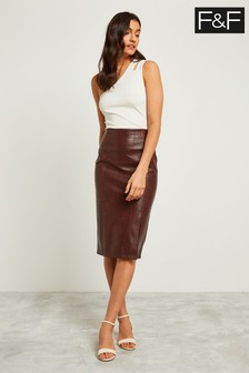 F&F Chocolate Faux Leather Croc Pencil Skirt