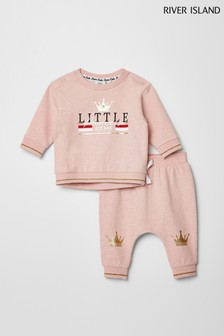 River Island Princess Sweat-Set, Pink meliert