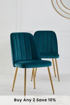 Set of 2 Stella Dining Chairs With Gold Finish Legs