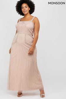 Monsoon Blush Lori Linear Embellished Maxi Dress