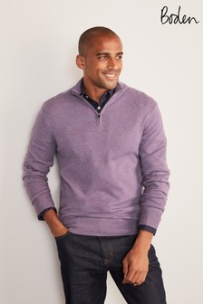 Boden Thistle Purple Lambswool Half Zip Jumper