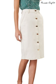 Phase Eight White Ellama Denim Midi Skirt