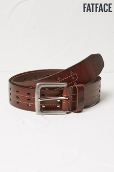 FatFace Brown Three Row Italian Leather Belt