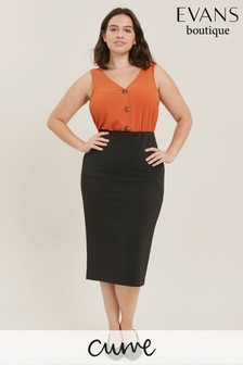 Evans Curve Black Ribbed Midi Tube Skirt