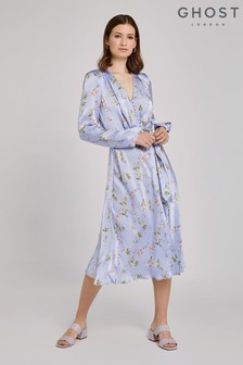 Ghost London Blue Meryl Swingtime Disty Print Satin Dress
