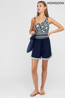 Monsoon Navy Madara Jersey Embroidered Shorts