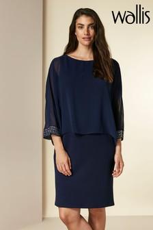 Wallis Blue Embellished Cuff Overlayer Dress
