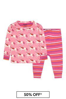 Hatley Kids & Baby Baby Girls Pink Floral Unicorns Organic Cotton Pyjama Set