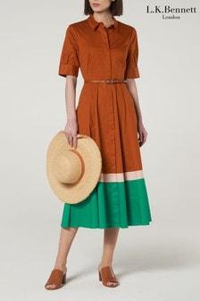 L.K.Bennett Brown Emilie Cotton Shirt Dress