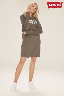 Levi's® Charcoal Serif Logo Sweater Dress
