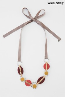 White Stuff Red Geo Resin Ribbon Necklace