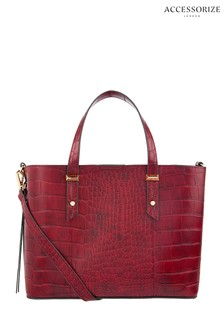 Accessorize Red Emma Croc Handheld Bag