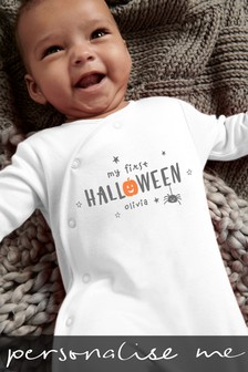 Personalised 'My First Halloween' Sleepsuit
