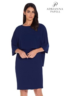 Adrianna Papell Blue Pop Over Textured Crepe Sheath Dress