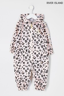 River Island Pink Light Leopard Print Puddlesuit