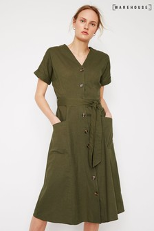 Warehouse Green Linen Shirt Midi Dress