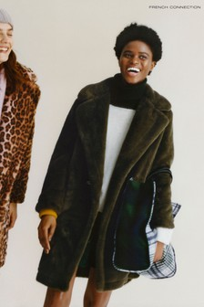 French Connection Green Buona Faux Fur Long Coat