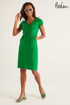 Boden Green Saskia Jersey Trim Dress