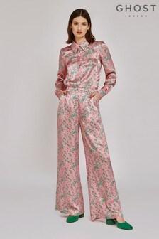 Ghost London Pink Harley Bonzai Floral Print Sarin Trousers