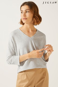 Jigsaw Light Grey Mel Slouchy V-Neck Sweatshirt