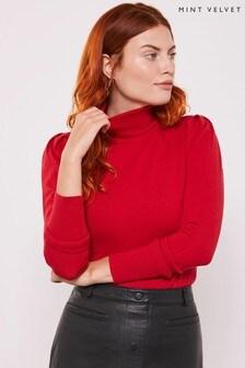 Mint Velvet Red Puff Detail Shoulder Jumper