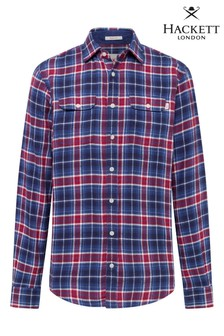 Hackett Blue Easy Fit Hkt Blue And Red Plaid Shirt