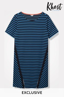 Khost Blue Popper Placket Stripe Dress