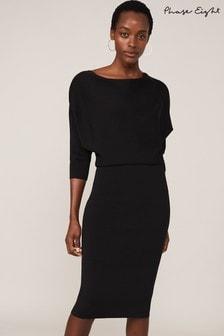 Phase Eight Black Ysabel Cowl Blouson Dress