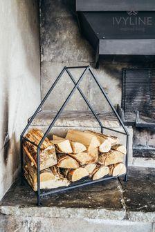 Black Contemporary Log Storage Basket by Ivyline