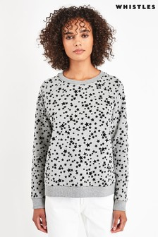 Whistles Grey Star Flocked Sweatshirt