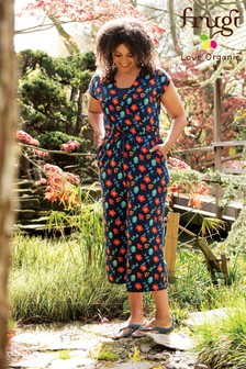 Frugi GOTS Organic Navy Floral Maternity Or Breastfeeding Jumpsuit