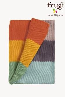 Frugi Organic Cotton Knitted Blanket in Soft Rainbow Stripe