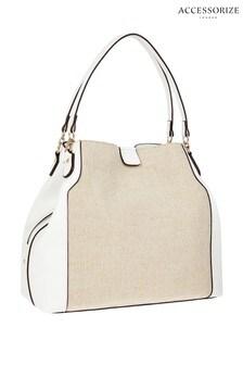 Accessorize White Raffia Harper Shoulder Bag