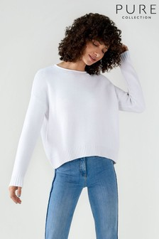 Pure Collection White Cotton Dipped Hem Textured Sweater