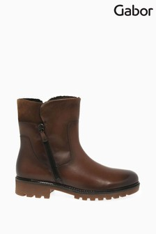 Gabor Brown Balban Womens Leather Ankle Boots
