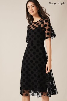Phase Eight Black Georgette Spot Mesh Dress