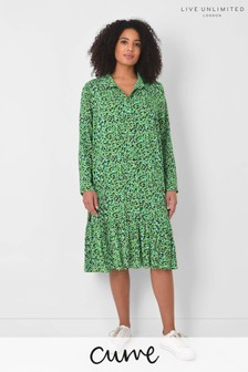 Live Unlimited Curve Green Animal Tiered Dress