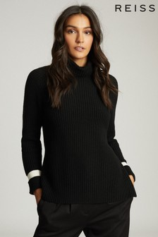 Reiss Black Coleen Stripe Detailed Roll Neck Jumper